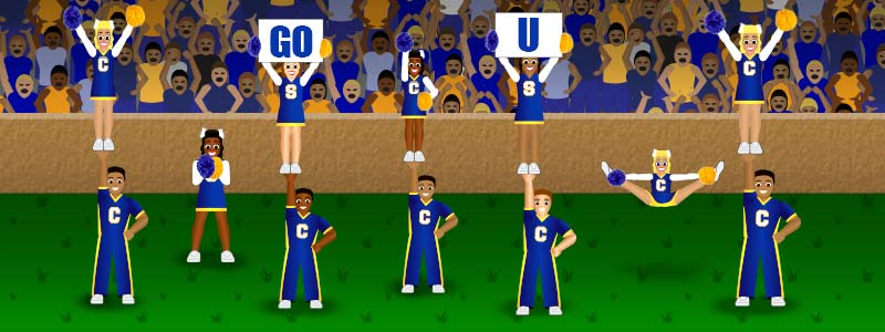 College Cheerleading game-day illustration with Cheermoji art