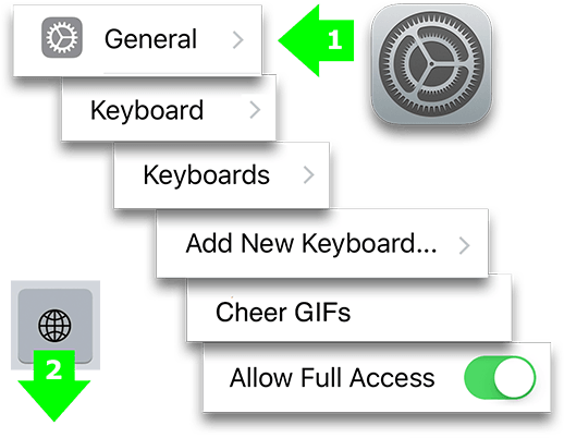 Image of the path in Settings to install Cheer GIFs.