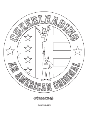 Link to the I'm All About That Base cheerleading coloring page.